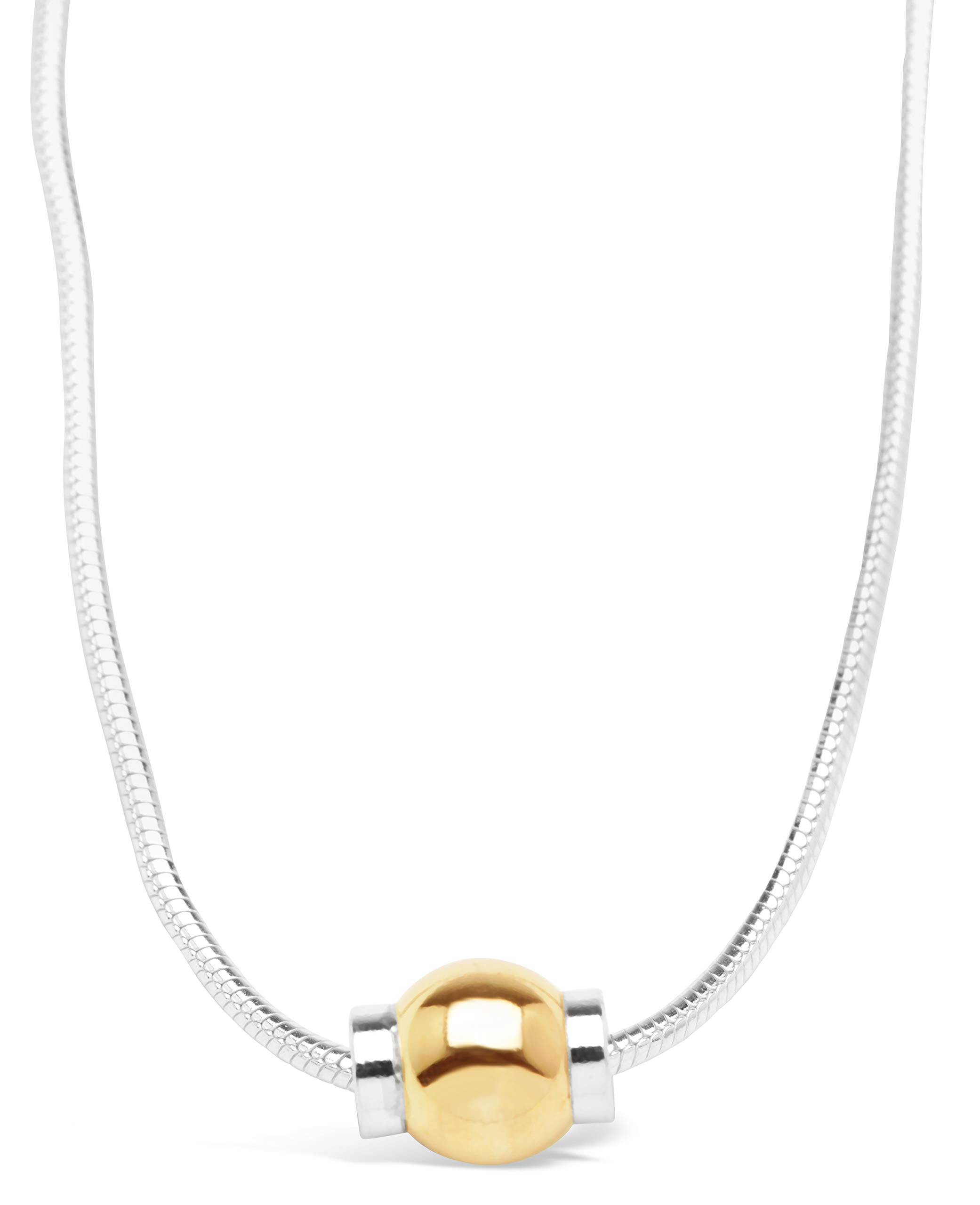 Michael's Jewelers-Provincetown Beach Ball Necklace from Cape Cod 925 Sterling Silver and 14k Solid Gold Ball (16)