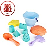 SainSmart Jr. Baby Beach Toy Summer Water Toy for Children, 11 PCS Sand Toy Safe TPE Material Beach Toy Sets