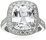 Platinum-Plated Sterling Silver Cubic Zirconia Cushion-Cut Ring