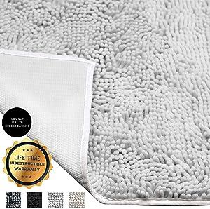 Enkosi Deluxe Bathroom Rugs - 20X30 Large Plush Chenille Bath Rug Mat- Super Soft & Absorbent Bathmat for Bathroom Floors- Non Slip Rubber Backing, Washing Machine & Dryer Safe Mats for Shower