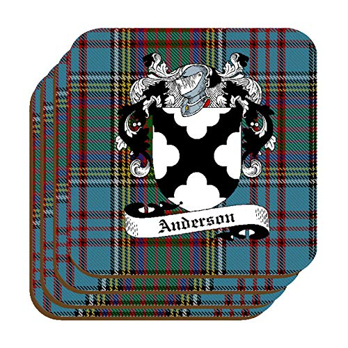 - ANDERSON SCOTTISH CLAN COAT OF ARMS SQUARE DRINKS COASTER ON ANDERSON TARTAN BACKGROUND - SET OF FOUR