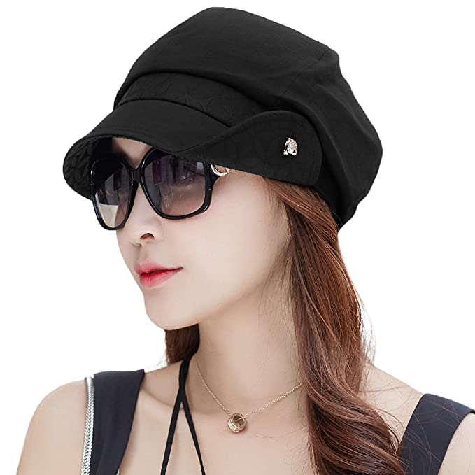 edc1d6d3a60 SIGGI Ladies Newsboy Cabbie Beret Cap Black Cloche Hat Painter Caps for  Women