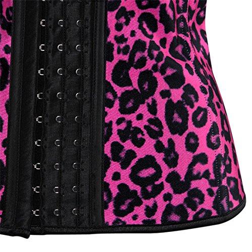 Rosfajiama Cintura Vientre Cinturón Cuerpo Entrenamiento Shaper faja Cincher Underbust Corsé de control rosadododo leopardo