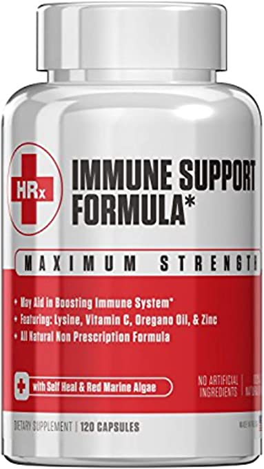 Amazon Com Immune Support Formula H Rescue Discreet Immune Support Supplement L Lysine Zinc Vitamin C Oregano Oil 120 Capsules Health Personal Care