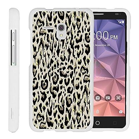 TurtleArmor | Alcatel One Touch Fierce XL Case | Alcatel Flint Case [Slim Duo] Slim Snap On 2 Piece Hard Cover Protector Case Girl Designs on White - Fainted Leopard (Alcatel Android 4g Fierce 2)