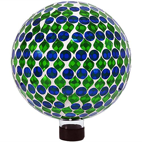 (Sunnydaze Mosaic Gazing Globe Glass Garden Ball, Outdoor Lawn and Yard Ornament, Green, 10 Inch)