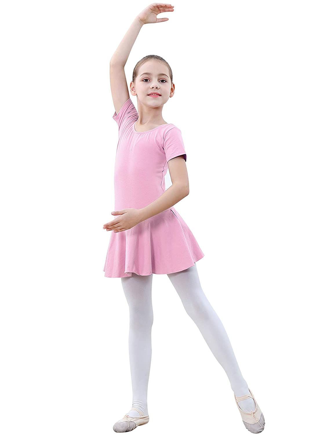 DISAUR Baby Girl Ballet Leotards with Tights Short Sleeve Skirt for Gymnastics 2-10T