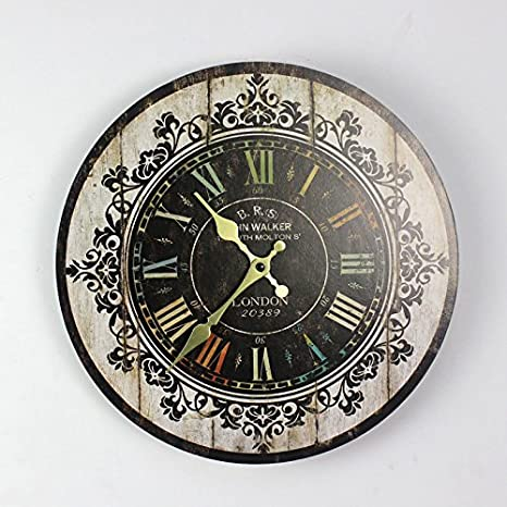 Dibujo de color madera-AIBEI patrón decorativo Reloj Digital Vintage Circular grandes relojes de pared Home Decoracion Regalos 35CM: Amazon.es: Hogar