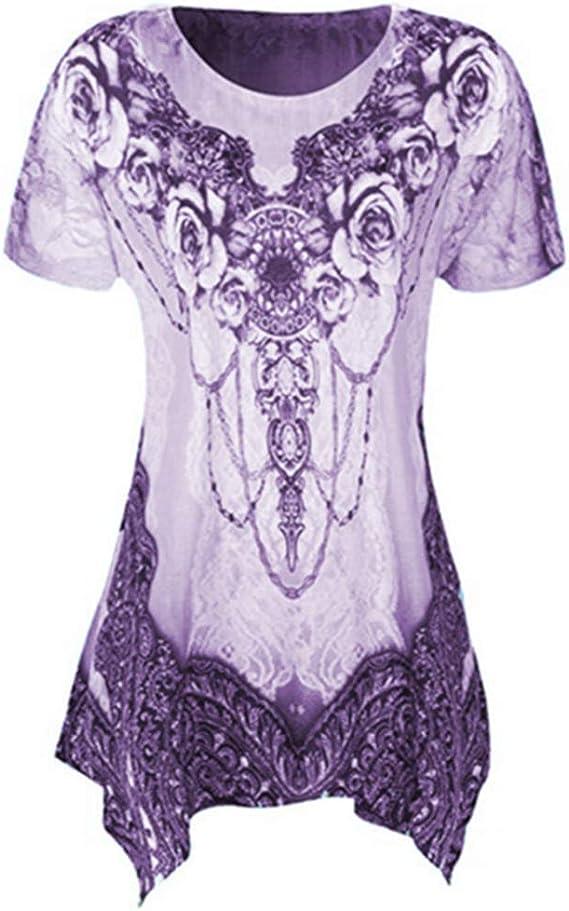 Camiseta de Manga Corta Camisa Irregular Estampada de Gran tamaño para Mujer Nueva Mujer: Amazon.es: Ropa y accesorios