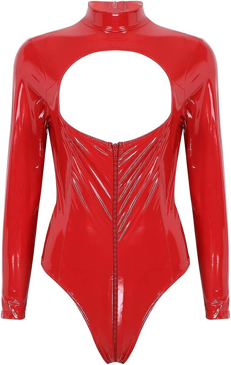 iixpin Body de Charol Wetlook para Mujer Bodysuit Metálico Brillante Bodycon con Cremallera Pecho Abierto Mono Atractivo Corte Alto