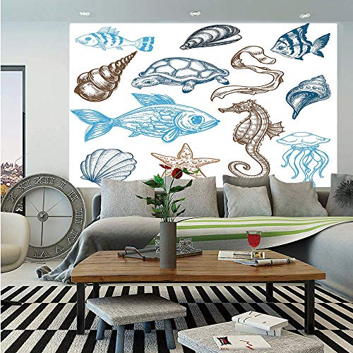 SoSung Doodle Wall Mural,Underwater Marine Life Aquatic Fish Shell Jellyfish Oyster Squid Seahorse Motif,Self-Adhesive Large Wallpaper for Home Decor 55x78 inches,Dark Blue Cocoa