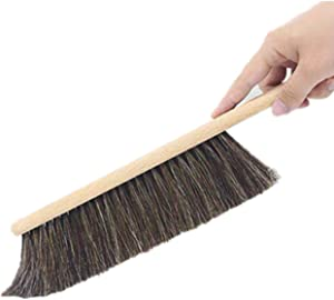 Kingten Horsehair Counter Duster with Wood Handle, Wood Block,Dustpan,Bench Woodworking Brush-Brushes are Used for Counter, Gardening, Furniture, Drafting, Patio, Fireplace Cleaning