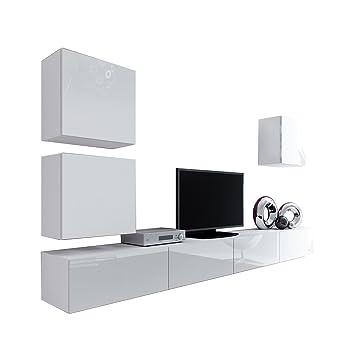 Wohnwand Vigo XXII, Design Mediawand, Modernes Wohnzimmer Set, Anbauwand,  Hängeschrank TV Lowboard