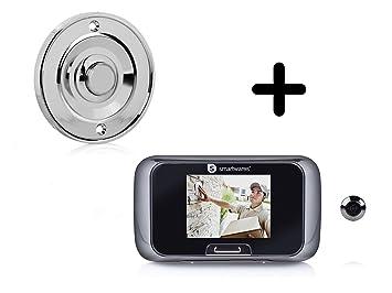 Set: Botón de timbre cromo redondo + puerta mirilla con cámara, timbre 1 Familia Hogar: Amazon.es: Bricolaje y herramientas
