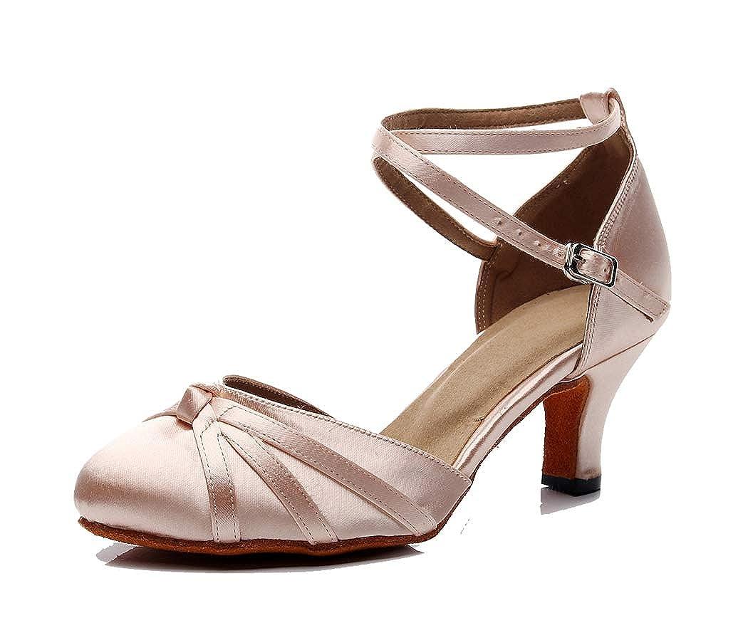 1959156c78 TDA Women's Closed Toe Cross-Strap Knot Satin Salsa Tango Ballroom Latin  Dance Shoes