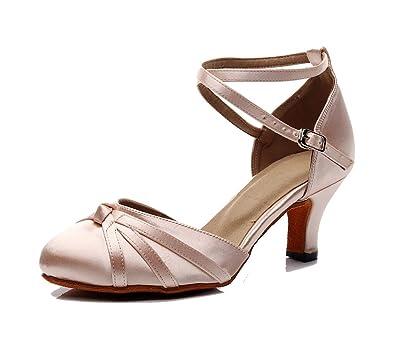 7ffb70a4f TDA Women's Closed Toe Cross-Strap Knot Satin Salsa Tango Ballroom Latin  Dance Shoes/