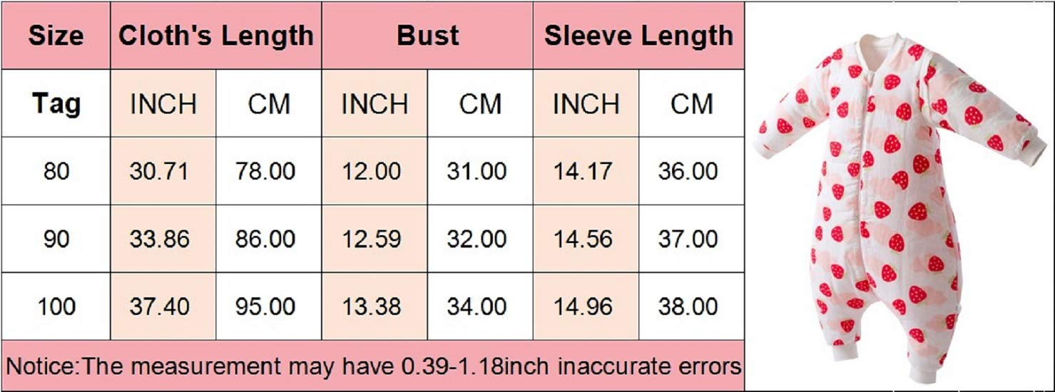Fall and Winter Long Sleeve Cotton Safe Comfortable Wearable Blanket with Legs for Toddler 6 Month-18 Month