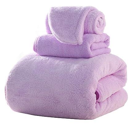 Secado Rápido Toalla Absorbente Alta Púrpura 3 Juegos De Juegos De Toallas De Baño (1