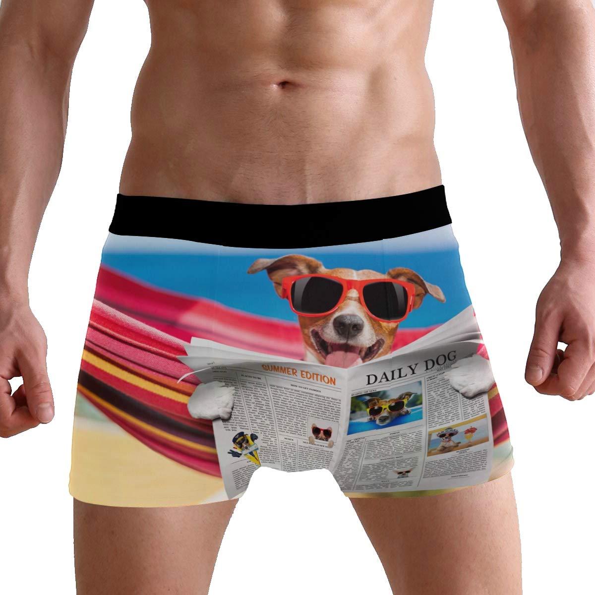 SUABO Mens 2-Pack Boxer Briefs Polyester Underwear Trunk Underwear with Dog Reading Newspaper Design