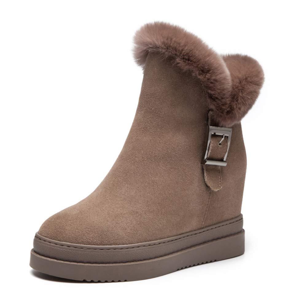 LXIANGP Damenstiefel, Schneestiefel Martin Stiefel dicken Boden erhöht Freizeitschuhe Herbst Winter und Winter Herbst seitlichen Reißverschluss sowie samt warme Damenschuhe (35EU-39EU) 7dfc08