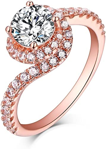 Amazon Com Jalash Rose Gold Plating Round Cut Cz Diamond Simple Halo Engagement Ring Gift For Womens Jewelry