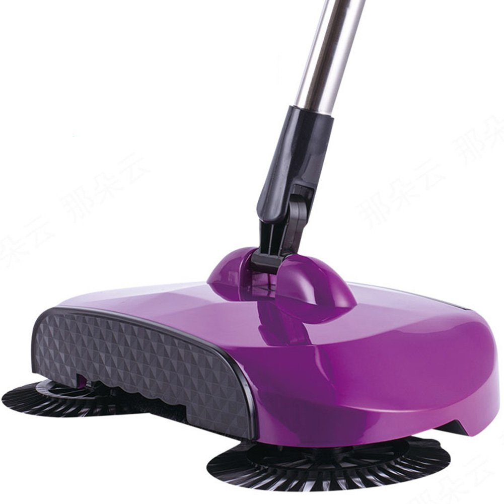 DAVEVY Floor Dust Sweeper 360 Rotary Mop Kit With Adjustable Handle Home Use Magic Manual Telescopic Cleaner (Purple)