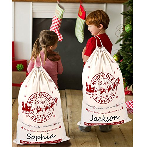 (OurWarm 2Pcs Santa Sacks Canvas Bags with Drawstring Christmas Bag Large Santa Bags for Kids 19 x 27 Inch Xmas Presents Storage)