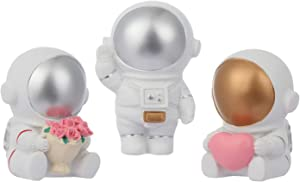 3pcs Astronaut Figuring Statue, Resin Sculpture Spaceman for Kids Birthday Gift Decorations White Sculpture Spaceman, Small Figurines Home Decor as Office Ornament, Party Cake Decoration & Home Gift