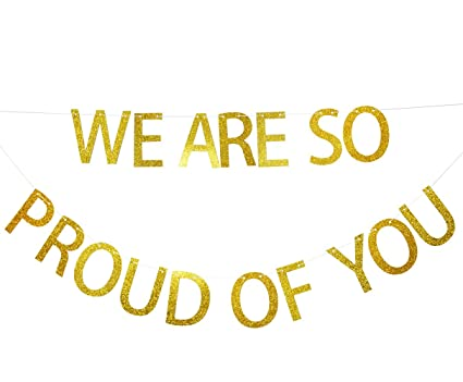 Amazoncom We Are So Proud Of You Gold Glitter Banner Graduation