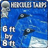 6' x 8' - Tent Shelter Tarp Cover Waterproof Tarpaulin Plastic Tarp Protection Sheet for Contractors, Campers, Painters,