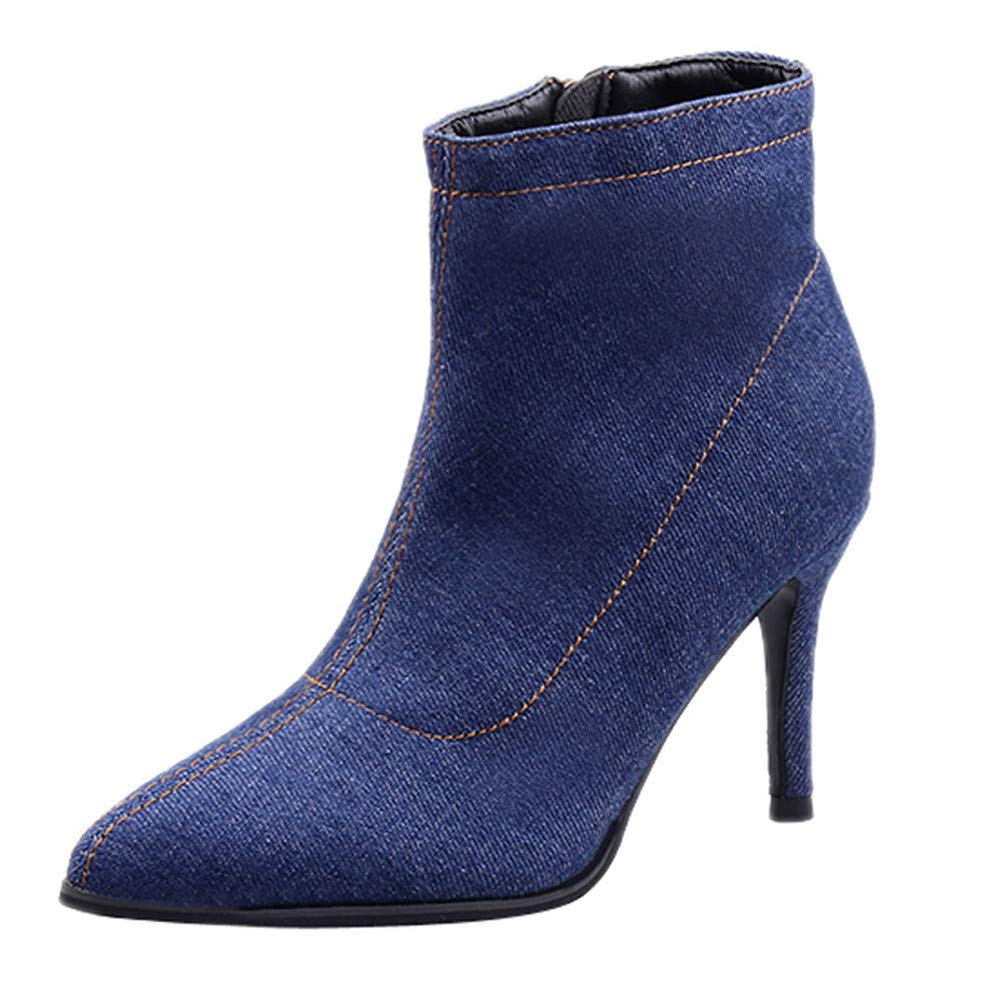 GIFC Fashion Women High Heel Shoes Short Tube Boot Denim Zippe Solid Color Pointed Toe Shoes
