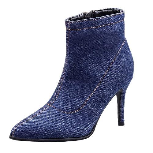 Logobeing Zapatos de Tacón Alto Botines Mujer Botas de Tubo Corto Denim Cremallera Color Sólido Punta