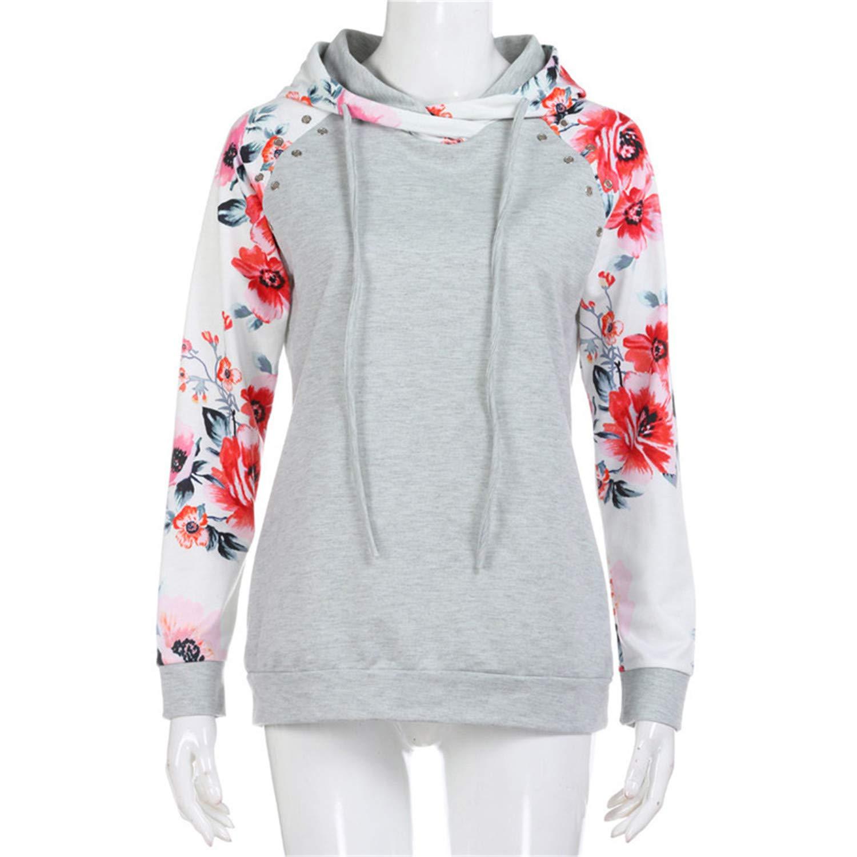 Desirca Hoodies Women 2018 Newly Floral Print Hole Long Sleeve Hoody Sweatshirt Female Tops