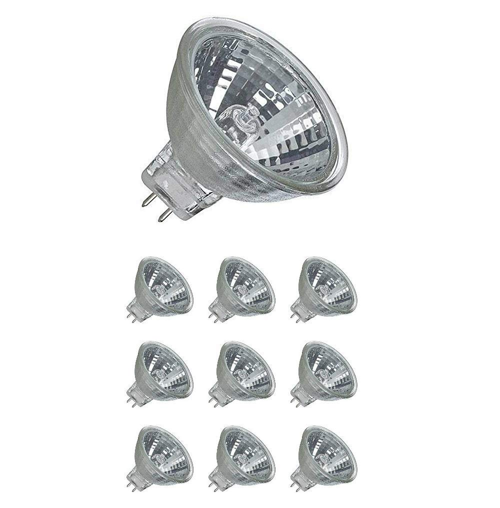 GU5.3 Fitting Bi Pin Base Halogen Light Bulb MR16 Spot Light Replacement Ac Dc 24V Back Pin Lamp Bulbs for Boats, Yachts, Landscape Lighting or Any Low Volt Down Lights, Warm White, 35W (Pack of 10)