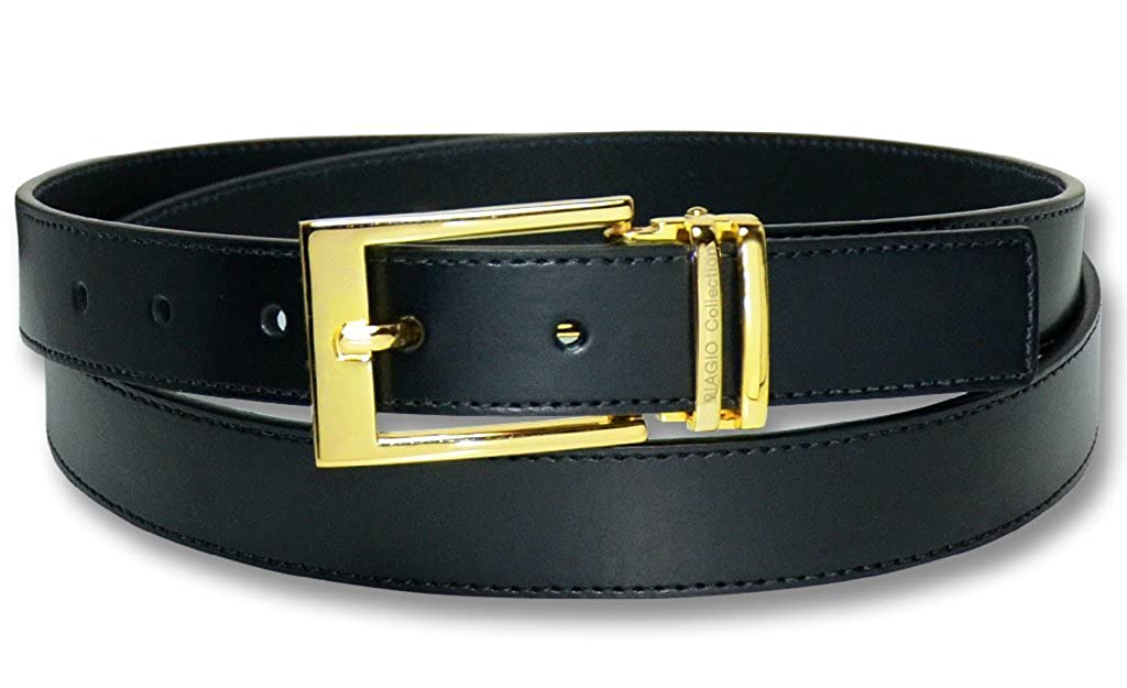 Biagio Mens Solid BLACK Bonded Leather Dress Belt with Gold-Tone Belt Buckle