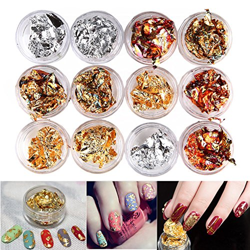 Minejin 12 Pot/Set Nail Art Gold Silver Paillette Flake Chip Foil DIY Glitter Decal Acrylic UV Gel Decoration