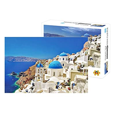 Puzzles for Adults 1000 Piece, Joopee Jigsaw Puzzle Educational Intellectual Decompressing Fun Family Game for Kids Adults (Santorini Church): Toys & Games