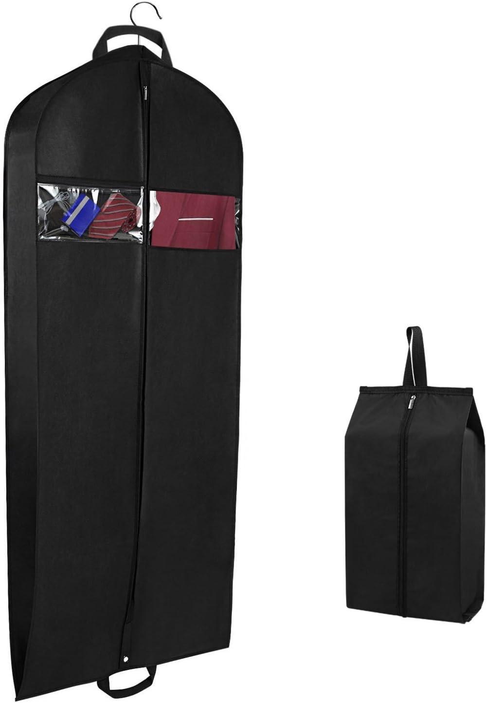 Sac de Rangement pour v/êtements la Robe et Le Smoking Paquet de 4 Syeeiex Suit 2 Grandes Poches en Filet et Une Fermeture /à glissi/ère Robuste # 5 pour Le Costume 110 cm de v/êtements Respirants