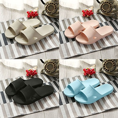 WILLIAM&KATE Men-Women Flat Bath Slippers Summer Sliders Sandals Beach Shower Shoes Anti Slip Indoor&Outdoor Home Slippers-Rubber Light Blue-3 FVvFy
