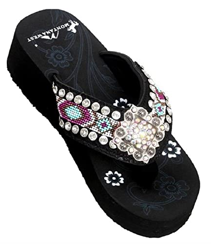 161248d44 Montana West 1.75 quot  Wedge Rhinestone Concho Flip Flops Sandals Jp Black  Purple ...
