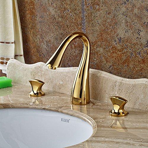 Aawang Deck Mount Schwanenhals Auswurfkrümmer Badezimmer Waschbecken Wasserhahn 3 Löcher Mischpult Tippen Sie Auf Gold Poliert