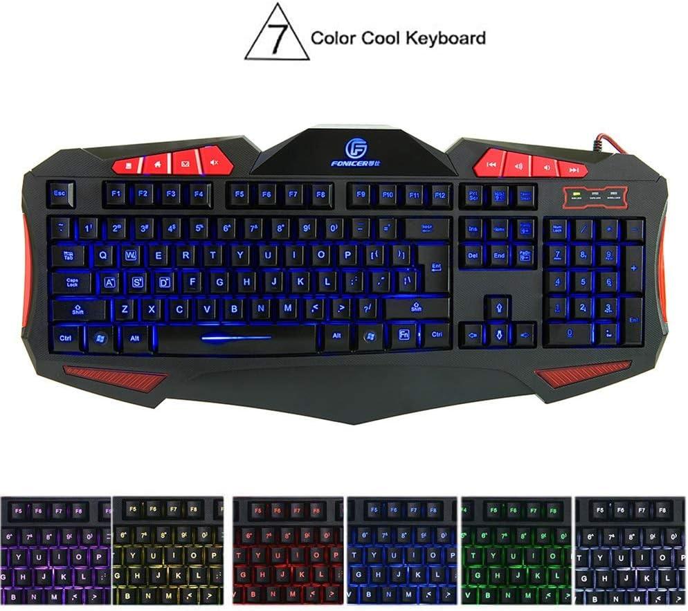 Backlit Wired Keyboard Mechanical Feel USB Desktop Computer Gaming Keyboard WUYAOCHUN Gaming Keyboard