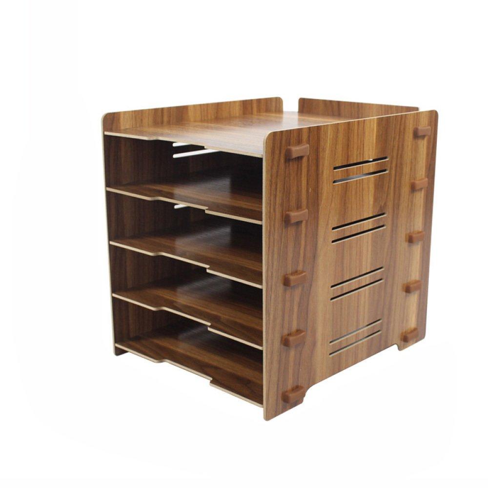 ZAIYI Bookcase Wooden Desk Desktop Organizer Four-Five-Shelf File Holder Document Holder Storage Rack,S-A by ZAIYI