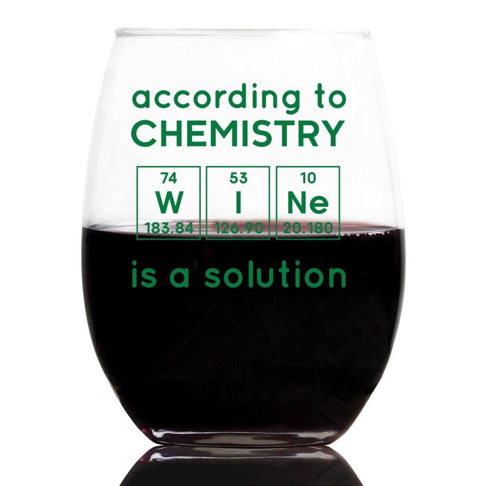 customgift Funny Wine Glass, Periodic Table, Birthday Science Teachers Day, 21 oz.