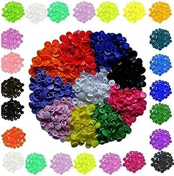 (150 sets,600 piezas,+15 Colores) Snaps Plástico T5 Botones Redondos Colores, Botones a presión, Botones para manualidades y merceria