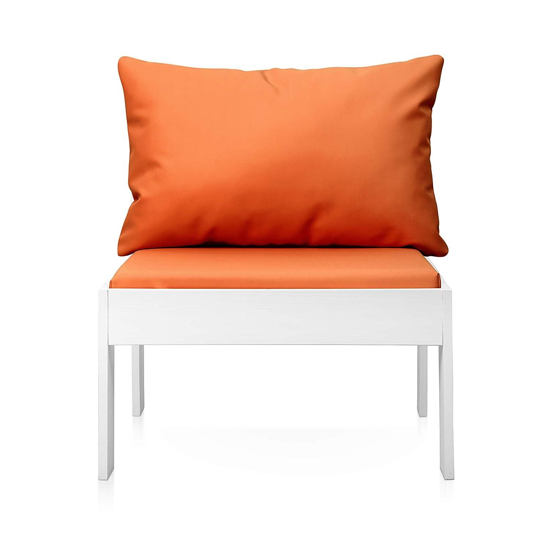 SUENOSZZZ - Sofa Jardin de Madera de Pino Color Blanco, MEDITERRANEO Mod. Respaldo, Sillon cojín Polipiel Color Naranja. Muebles Jardin Exterior. ...
