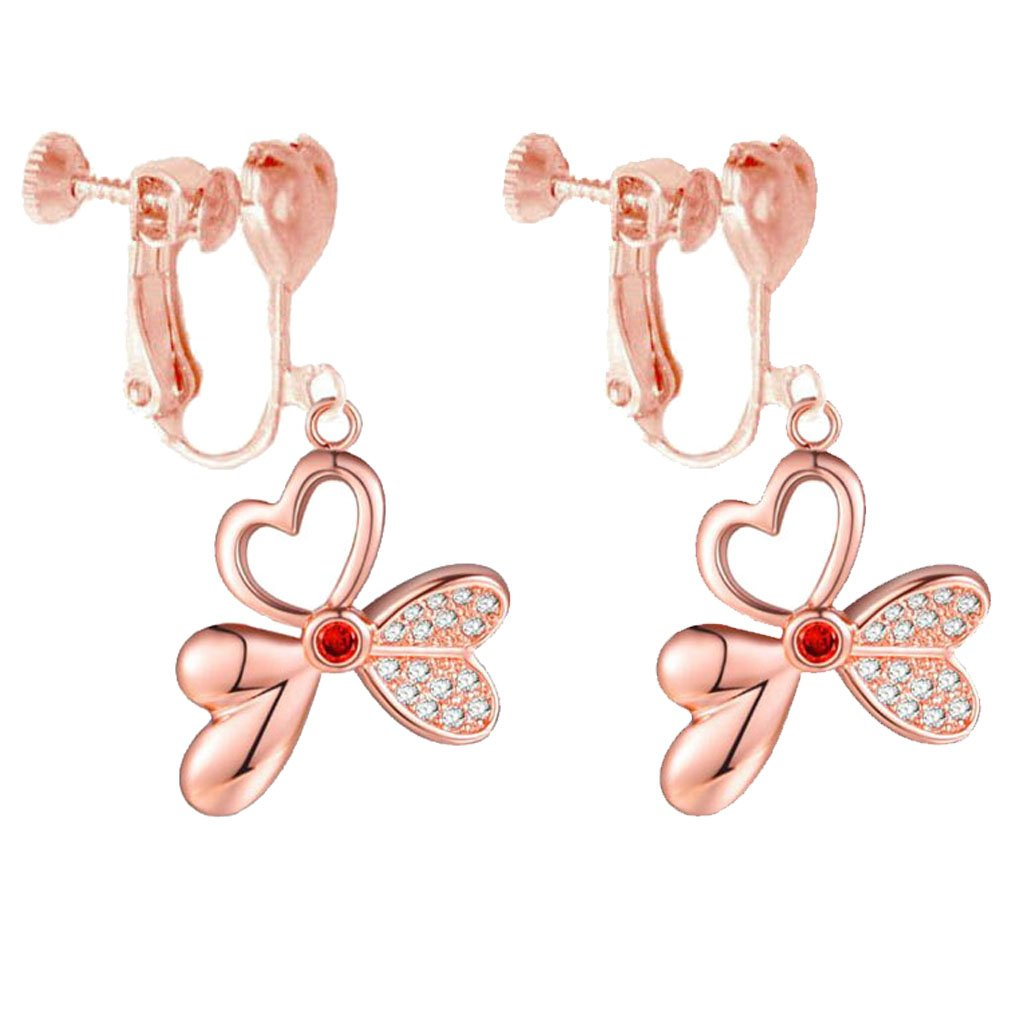 Clip on Earrings for Girls Women Heart Clips 18K Rose Gold Plated Clower Flower Dangle Prom Earring opsok factory Soj-E-non-933