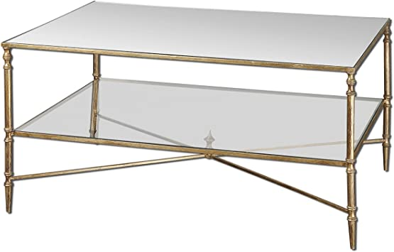 Amazon Com Uttermost Henzler Mirrored Glass Coffee Table Gold
