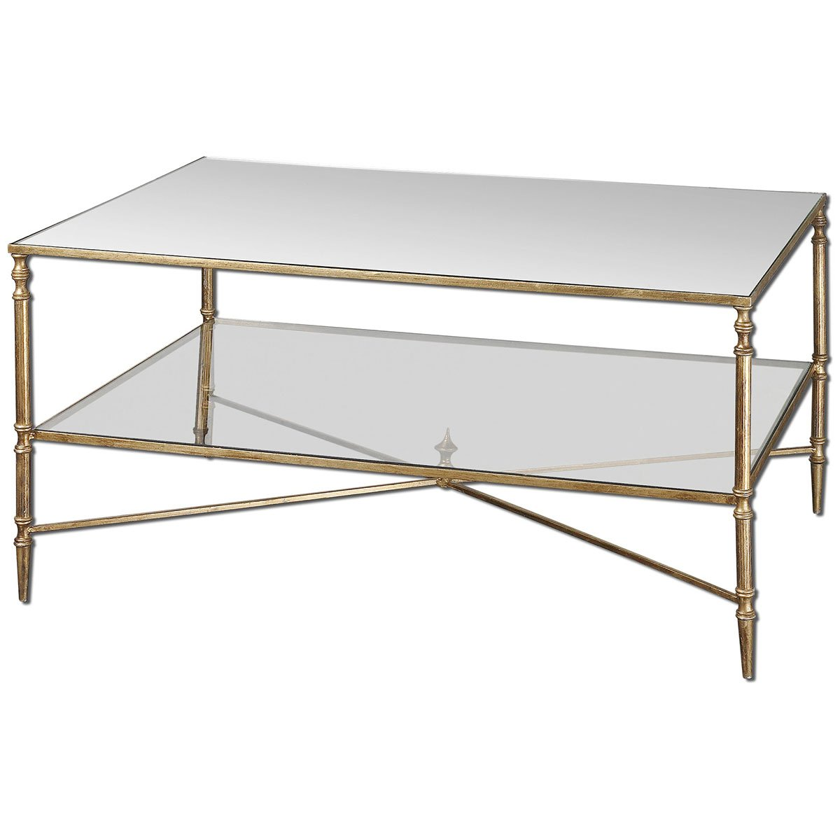 Amazon.com: Uttermost 24276 Henzler Mirrored Glass Coffee Table: Kitchen U0026  Dining