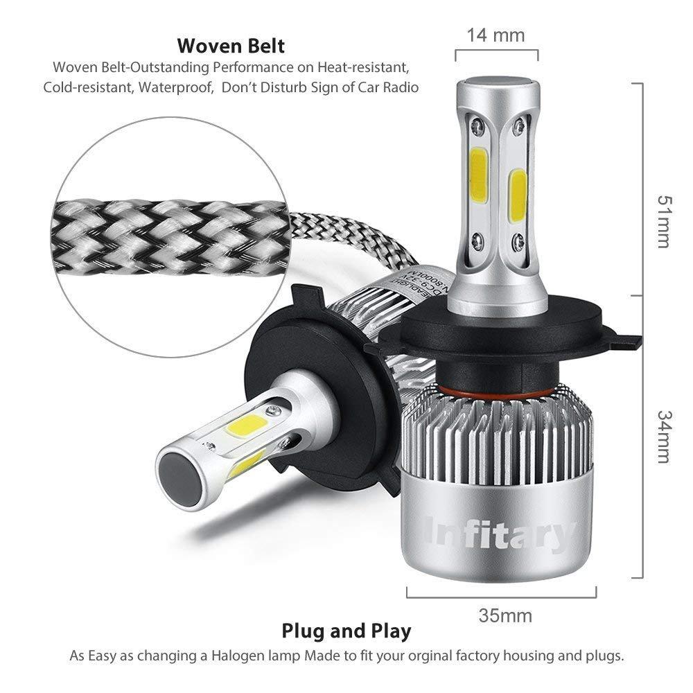 H4 LED Bombillas para faros Infitary High Low Car Auto LED Kit de conversión Hi/Lo beam faro doble haz 72W 6500K 8000LM Extremadamente Super Bright COB ...
